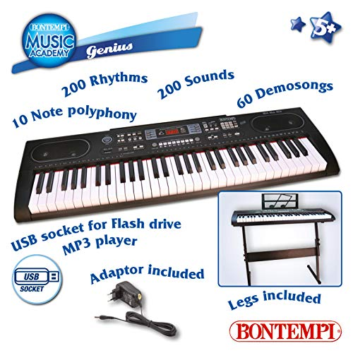 Bontempi 16 6125 6125-Digitales Keyboard 61 Profi-Größe Tasten, schwarz