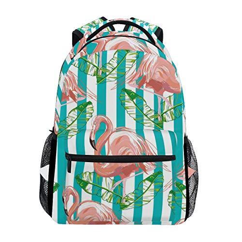 TIZORAX - Zaino per la scuola, con fenicotteri rosa, a righe, colore: Verde