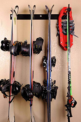 Kinghouse Ski and Snowboard Wall Storage Rack Holds 4-8 Pairs, Ski Wall Mount, Home and Garage Storage Hanger