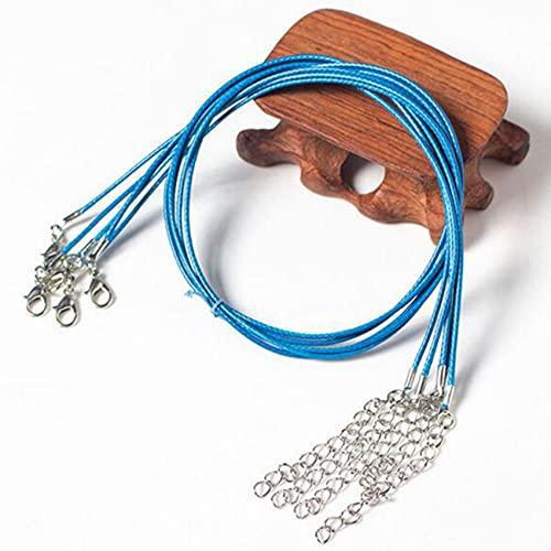 ZSDFW 20 cuerdas de algodón encerado para manualidades, hilo encerado, cuerda de cuero redondo con cierre de pinza de langosta de aleación, para hacer pulseras, collares, joyas, color azul marino