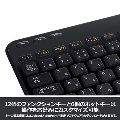 『ロジクール ワイヤレスキーボード K360r キーボード ワイヤレス 静音 無線 薄型 小型 テンキー付 Unifying 国内正規品 3年間無償保証』の4枚目の画像