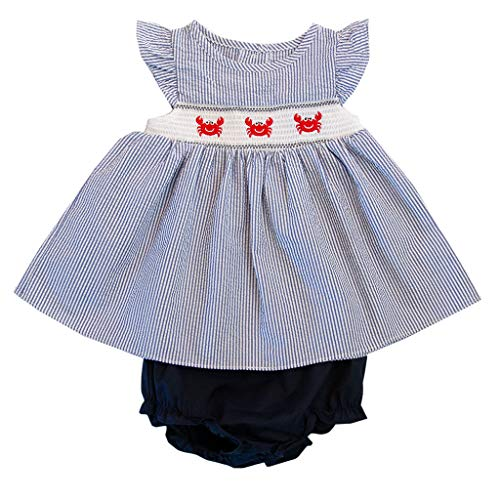 Good Lad Newborn/Infant Girls Seersucker Navy Smocked Sundress with Crab Appliques and Matching Panty