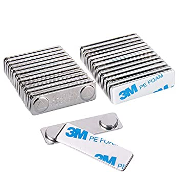 Strong Magnetic Name Badge Holders with Steel Back Plate 24 Pack Name Tags/ID Badge Magnets Fastener with Adhesive on Front Plate,Strength Neodymium Magnets