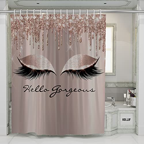 Rose Gold Drips Makeup Lashes Polyester Fabric Shower Curtains (No Glitter) Hello Gorgeous Waterproof Bath Curtains for Bathroom Decorative 72 x 72 inch with Hooks Accessories
