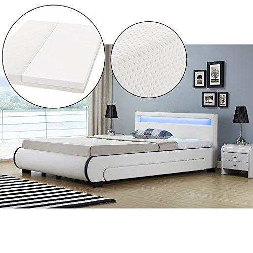 ArtLife Polsterbett Bilbao 140 x 200 cm mit Kaltschaum-Matratze – Einzelbett inkl. Bettkästen, LED Beleuchtung & Lattenrost – Kunstleder Bett – weiß