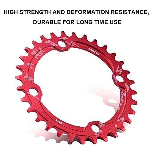 Alomejor Fahrradkettenring 32/34/36 / 38T BCD 104 Mountainbike Stahl Einzelkurbel Kettenblatt Reparatur Teile Kettenblätter für Outdoor Radfahren(32T-Rot) - 6