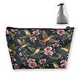 Kosmetiktasche für Handtasche, bedruckt, Kosmetiktasche, Kulturbeutel, Bleistifttasche mit Reißverschluss, Vogelblume (Grün) - HZBAO-14M5