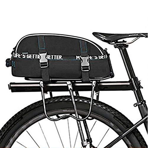 8L Impermeable Doble Cubierta De Bicicleta Asiento Trasero Rack Pack De Dos Capas Bolsas De Bicicleta Estante De Bolsillo Bolsa De Hombro Ciclismo Bicicleta Bolsa alforjas Bicicleta