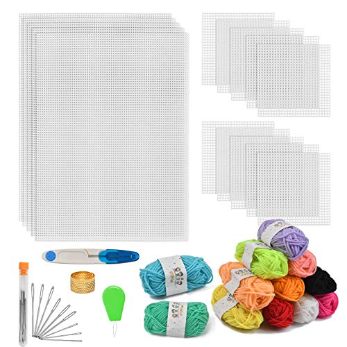 BUYGOO 39Pcs Mesh Plastic Canvas Sheets Kit Including 15 Pieces Clear Plastic Canvas, 12 Color Acrylic Yarn and Embroidery Tools for Embroidery Plastic Canvas Craft