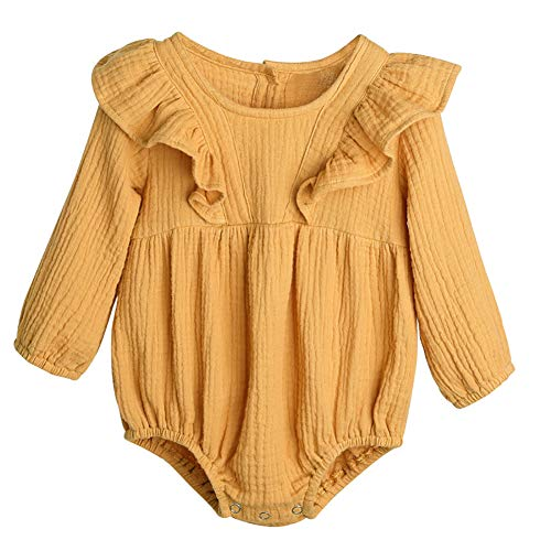YOUNGER TREE Newborn Infant Baby Girl Linen Romper Solid Color Ruffles Long Sleeve Romper Bodysuit Outfits (0-6 Months, Yellow)
