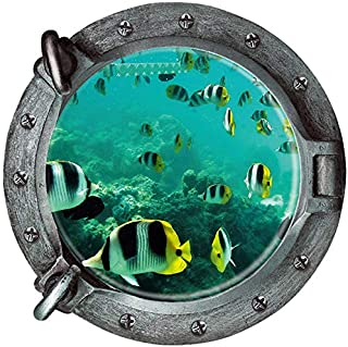 BooDecal 3D Porthole View Undersea Tropical Fishes Waterproof Peel and Stick Vinyl Wall Decals Wall Stickers for Kids Room Bathroom 18 inches x 18 inches