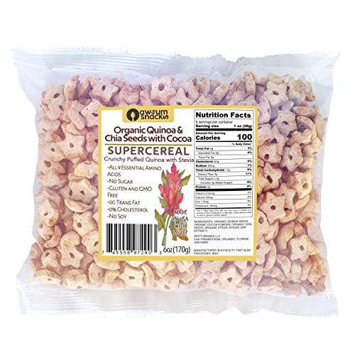 Awsum Snacks Organic Quinoa with Chia seeds, Cocoa & Stevia SUPERCEREAL - Healthy Breakfast Cereal - Sugar Free, Kosher Grain & Gluten Free Cereals Snack - Non GMO Food, Vegan Diabetic Snacks Grocery Foods - 6 oz