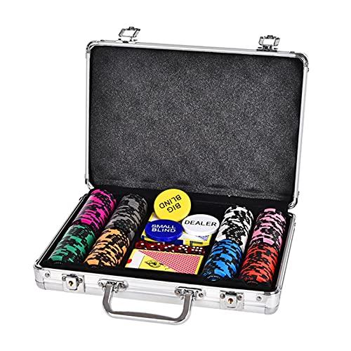 YZJJ Juego de póquercon 200/300 Chips Láser 14 Gramos Núcleo de Metal, 2 Barajas de Cartas, Distribuidor, ciega pequeña, Big Blind Buttons y 5 Dados