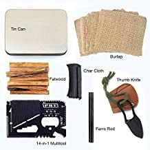 PBL Natural Firestarting Survival Kit Fatwood Ferro Rod Ferrocerium Flint Char Cloth Knife Tinder 14 in 1 Multifunctional Tool Tin Container Backpacking Emergencies Camping Kaeser Since 1989