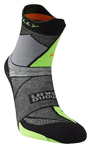 Hilly Routes pour Homme Ultra Marathon Fresh Chaussettes de Course Large Black/Grey/Lime Green