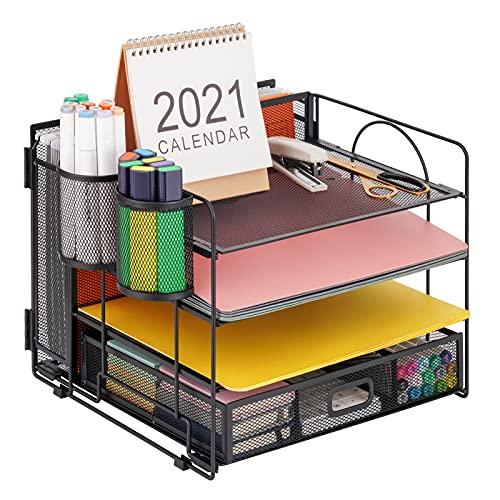 Marbrasse 4-Trays Desk File Organizer with 2 Pen Holder, Desktop Hanging File Holder with drawer, paper letter Tray organizer, Mesh Office Supplies Desk Paper Organizer for Home Office (Black)