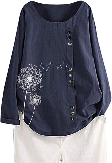 Blusa de Manga Larga con Estampado de Diente de león Camisa ...