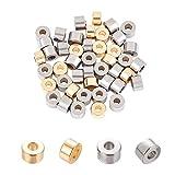 UNICRAFTALE Circa 60 pz 2 Colori Colonna Distanziatore Perline 2.5mm Foro Perline in Acciaio Inossidabile Perline Allentate Perline per Creazione di Gioielli Collane Bracciali 6mm Dia