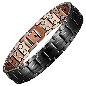 Mens Copper Bracelets 8.5  Link Adjustable Black Pure Copper with Double Raw 3000Gauss Magnets Pain Relief for Arthritis and Carpal Tunnel Migraines Tennis Elbow