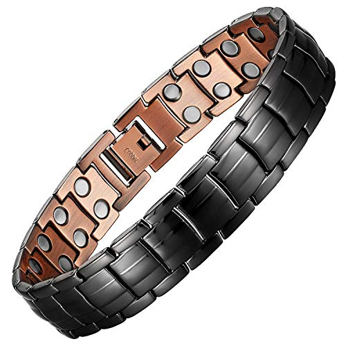 """Mens Copper Bracelets 8.5"""" Link Adjustable Black Pure Copper with Double Raw 3000Gauss Magnets Pain Relief for Arthritis and Carpal Tunnel Migraines Tennis Elbow"""
