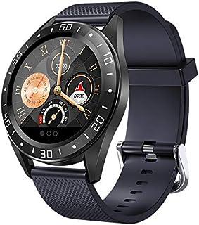 Huante GT105 Reloj inteligente de 1,22 pulgadas, para hombre y mujer, monitor de presión arterial, reloj inteligente con control de la música y llamada, color azul