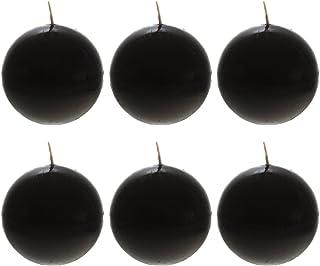 "Mega Candles 6 pcs Unscented Black Ball Candle   Hand Poured Premium Wax Candles 3"" Diameter   For Home Décor, Wedding Rec..."