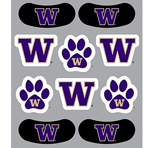 University of Washington (UW) Huskies – Waterless Peel & Stick Temporary Tattoos – 10-Piece Combo – 3 Purple/Gold W Logo & Gold W Logo on Purple Paw Print Spirit Tattoos & 4 Purple/Gold W Logo on Bl