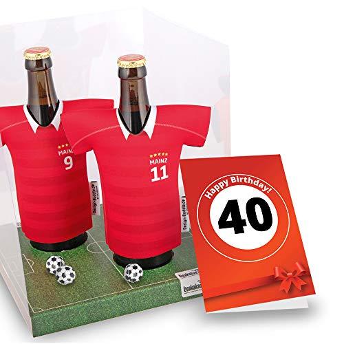 40. Geburtstag | Der Trikotkühler | Das Männergeschenk für Mainz-Fans | Langlebige Geschenkidee Ehe-Mann Freund Vater Geburtstag | Bier-Flaschenkühler by Ligakakao