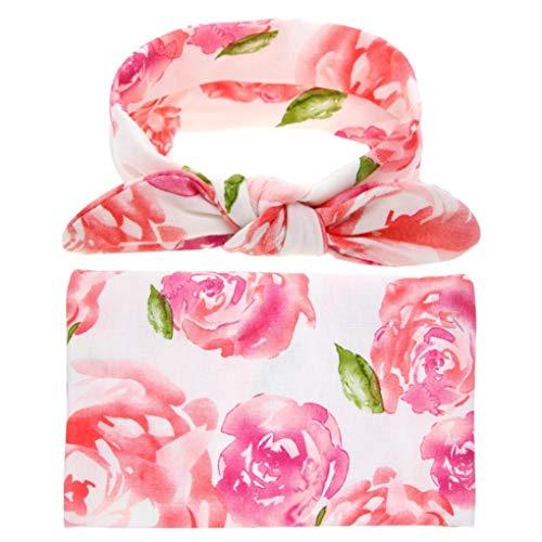 jinwo fidata 2Pcs /set Newborn Baby Girls Swaddle Blanket Sleeping Swaddle Wrap with Headband(None PK)