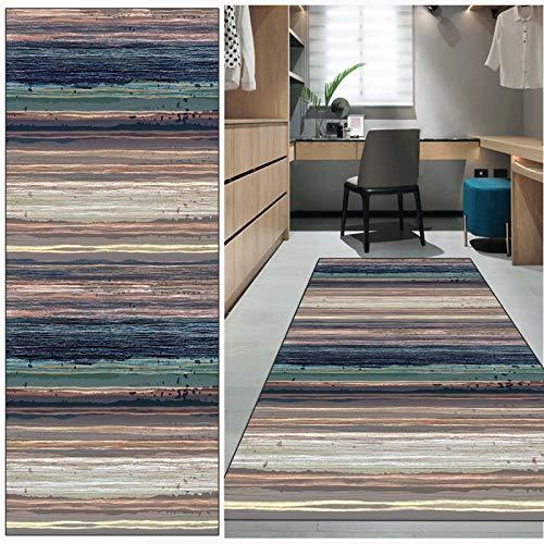 FKYUH Teppich Läufer Flur rutschfest Waschbar Bunt Streifen Lange Kücheläufer Teppichläufer Polyester Meterware Anpassbar (Color : Stil-E, Größe : 60x100cm)