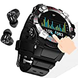 CXWAWSZ Smartwatch Earbuds 2 in 1 TWS Earphones with Fitness Tracker Watch Waterproof Bracelet Step Calories Sleep Tracker Heart Rate Blood Pressure Monitor for iPhone Android Gift