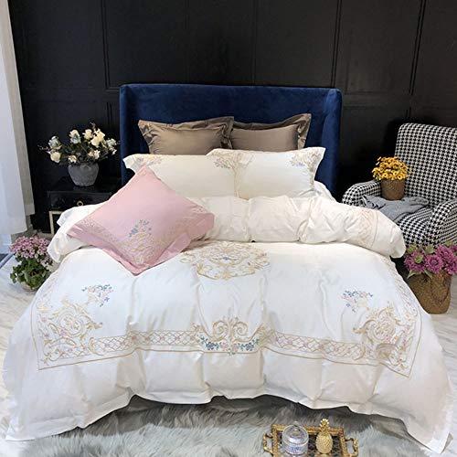 LCSD Juego de funda de edredón nórdico simple de algodón bordado, de color sólido, color blanco, patrón de flores, ropa de cama, juego de regalo de familia de cuatro hoteles, tamaño 220 x 240 cm