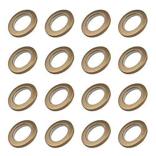 INCREWAY 16 ojales para cortina, 4 cm de diámetro interior, plástico ABS, bajo ruido, anillo romano para manualidades, ojales de costura superior (marrón)