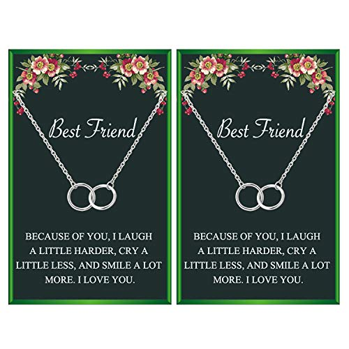 Best Friend Neckalces for 2 Interlocking Infinity Circles Gift Best Friends Pendant Friendship Necklace for Women Girls (2 silver circle necklace)