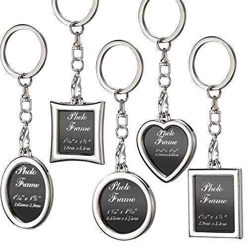 10 Pieces Photo Frame Keychain Metal Frame Keychain, Picture Frame Keyring, Keychain with Locket Photo Frame for Birthday, Valentine's Day, Wedding Gifts (Rectangular, Square, Round, Oval, Heart)