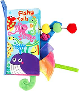 Baby Tail Cloth Book Ocean Animals Crinkle Soft Cloth Books Learning Animals Colors Touch & Feel Sensory Book Educational ...
