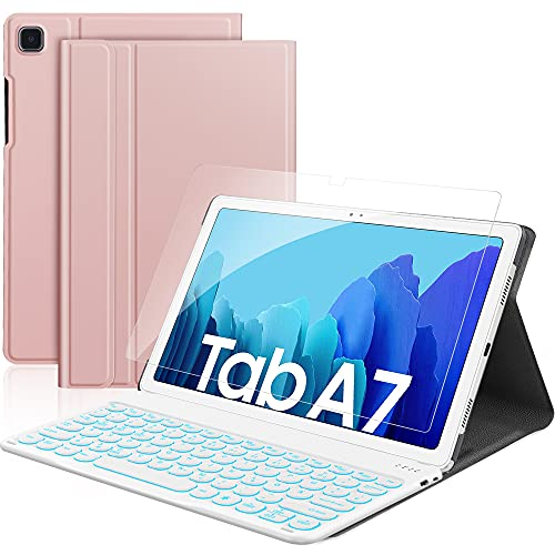 Sross Funda con Teclado para Samsung Galaxy Tab A7, Español Ñ Samsung Galaxy Tab A7 10.4 Pulgada 2020 SM-T500/T505 Teclado con Protector de Pantalla, Oro Rosa