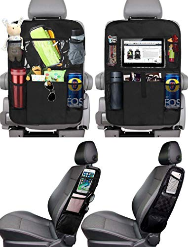 PewinGo Protezione Sedili Auto Bambini, lta Capacità 4 Pezzi con 16 Tasche Portaoggett , Facile da Installare e Pulire Proteggi Sedile Organizzatore, Adatto a Più Modelli di Auto - Nero