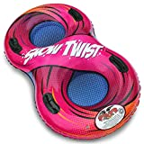 Flexible Flyer Snow Twist 2-Person Inflatable Tube. Lake Pool Float & Double Sled Slider, Red Orange, 57 x 33 x 12 inches