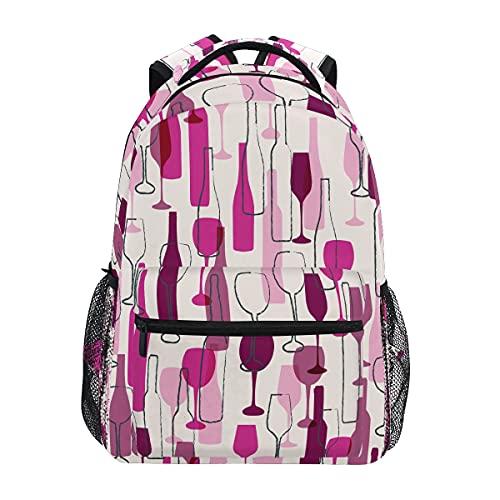 HaJie - Mochila para botella de vino con patrón de vino, mochila de viaje de gran capacidad, casual, para escuela, libros, bandoleras, ordenador portátil, para mujeres, hombres, adolescentes, niños