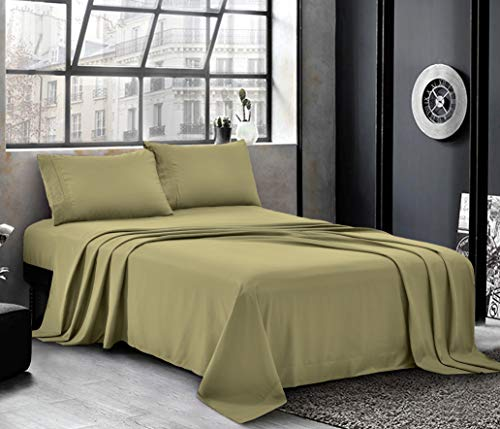 Pure Bedding Bed Sheets  Twin Sheet Set 3Piece Olive  Hotel Luxury 1800 Brushed Microfiber  Soft and Breathable  Deep Pocket Fitted Sheet Flat Sheet Pillow Cases