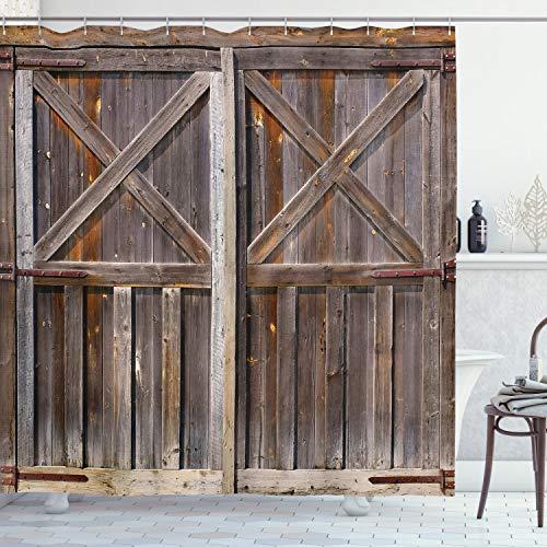 ABAKUHAUS Duschvorhang, Holz Tür von einer Scheune mit Nussbaum Kirsche & Eichenholz Tönen Digitale Illustration Druck, Wasser & Blickdicht aus Stoff mit 12 Ringen Schimmel Resistent, 175 X 200 cm