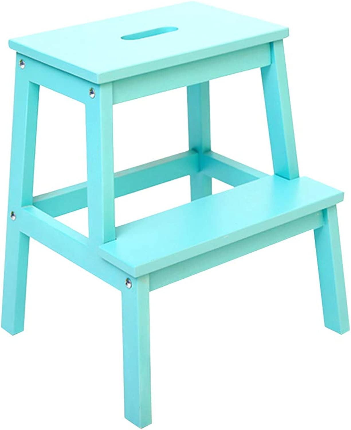 Ladder Step Stool, Solid Wood 2 Steps Stool Ladder Dual Purpose Hollow Portable Handle Household Ascend Change shoes 10 colors (color   bluee)
