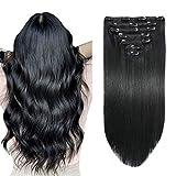 SUYYA Clip in Hair Extensions Human Hair Jet Black 100% Real Human Hair 14 inches 7pcs 110g Straight Clip in Remy Human Hair Extensions Double Weft(14 inches #1 Jet black)