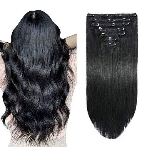 SUYYA Clip in Hair Extensions Human Hair Jet Black 100% Real Human Hair 18 inches 7pcs 120g Straight Clip in Remy Human Hair Extensions Double Weft(18 inches #1 Jet black)