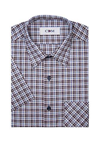 CDM - Herren Karo Kurzarm Hemd mit Kent Kragen (20417250), Farbe:Braun (900), Kragenweite:41/42