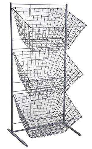 PEGANE Présentoir en métal Gris avec 3 corbeilles rectangulaires, 49 x 35 x 101 cm