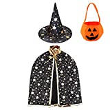 Jackcell Disfraz de Halloween para niños, capa de bruja con sombrero, bolsa de caramelos, abrigo de mago con accesorios para niños y niñas, cosplay (negro)