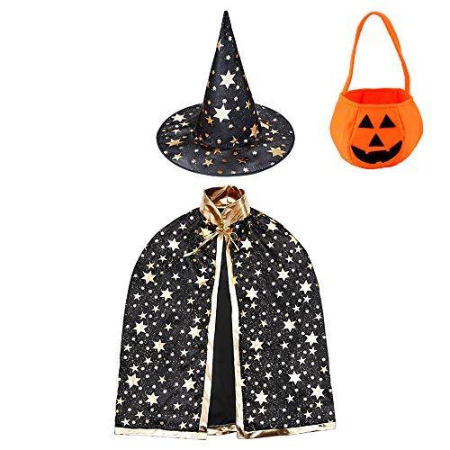 Jackcell Kinder Halloween Kostüm, Wizard Cape Witch Umhang mit Hut, Kürbis Candy Bag, Zauberer Mantel mit Requisiten für Jungen Mädchen Cosplay Party (Schwarz)