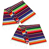 MINILIFE 2 Pack 14 by 84 Inch Mexican Serape Table Runner Colorful Cotton Fringe Blanket for Mexican Party Outdoor Wedding Kitchen Decorations